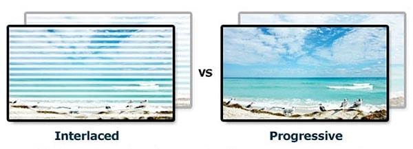 Voorbeeld van een interlaced beeld vs progressive scan